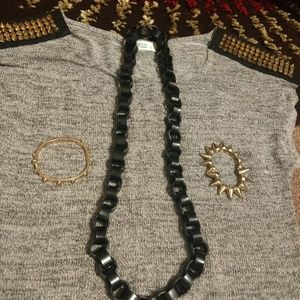 Poetry Rocker Gray Top S/M Necklace 2 Bracelets